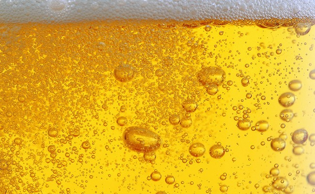 beer with bubbles
